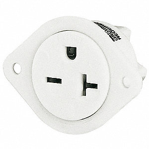 20A Commercial Environments Flanged Receptacle, White; Tamper Resistant: No