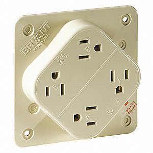 Receptacle,Ivory,Quad Outlet,15A,125VAC