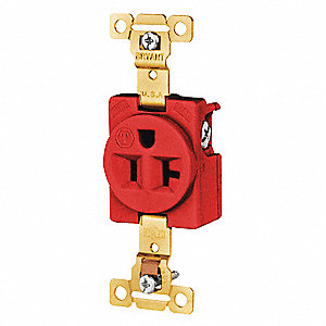 20A Industrial Environments Receptacle, Red; Tamper Resistant: No