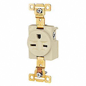 Receptacle,Ivory,15A,Nylon,Single Outlet