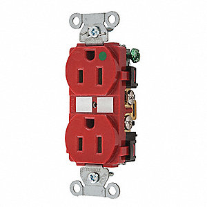 Receptacle,Red,15A,125VAC,Duplex Outlet