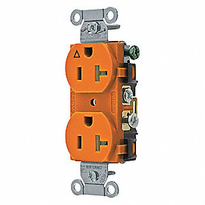 Receptacle,Orng,15A,3 Wires,Side Winning