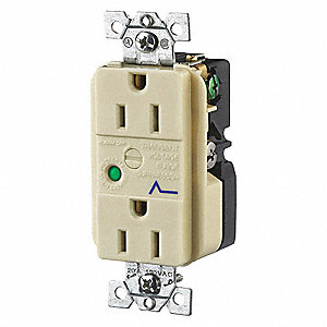 Receptacle,Ivory,15A,Audible Alarm,Nylo