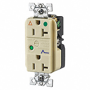 Receptacle,Ivory,20A,3 Wires,2 Poles