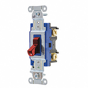 Wall Switch,15A,Red,1-Pole Type,Toggle