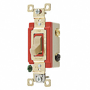 Wall Switch,20A,Ivory,3-Way Type,Toggle