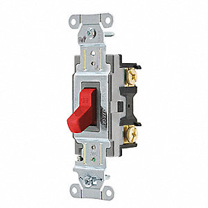 Wall Switch,20A,Red,Toggle,120/277VAC