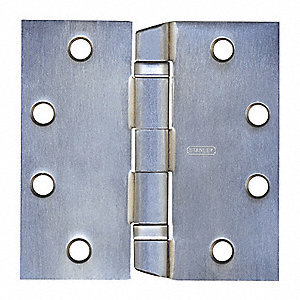 "4-1/2"" x 1-25/32"" Butt Hinge with Satin Chrome Finish, Full Mortise Mounting, Squared Corners"