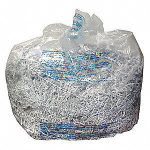 30 gal. Shredder Bags, Clear Plastic, 25 PK