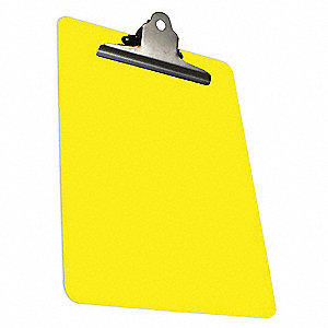 "Yellow Detectable Plastic Clipboard, Letter File Size, 9"" W x 14"" H, 1"" Clip Capacity, 1 EA"