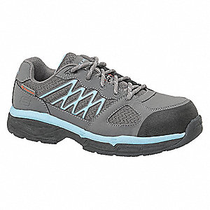 "3""H Women's Work Shoes, Alloy Toe Type, Gray/Blue, Size 8-1/2D"