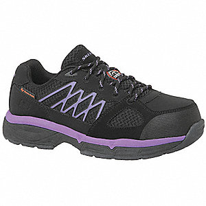 "3""H Women's Work Shoes, Alloy Toe Type, Black/Purple, Size 5-1/2D"