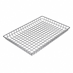 "Basket,Silver,Steel,Rectangular,2-5/64""H"