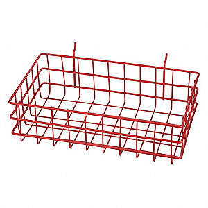 "Wire Mounting Basket,Red,Steel,4"" H"