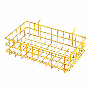 "Wire Mounting Basket,Yellow,Steel,4"" H"