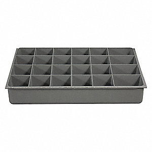 Plastic Compartment Drawer Insert, Compartments per Drawer: 24, Removable Dividers: No, Gray