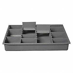 Plastic Compartment Drawer Insert, Compartments per Drawer: 4 to 13, Removable Dividers: Yes, Gray