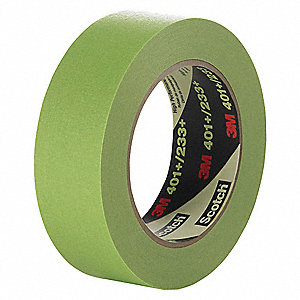 Paper Masking Tape, Rubber Tape Adhesive, 6.70 mil Thick, 48mm X 55m, Green, 1 EA