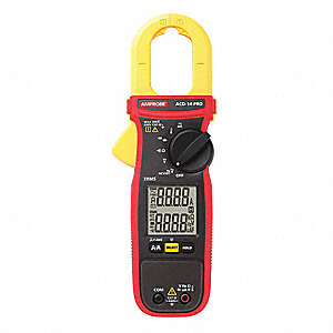 "Clamp On Digital Clamp Meter, -40° to 752°F Temp. Range, 1-1/8"" Jaw Capacity, CAT III 600V"