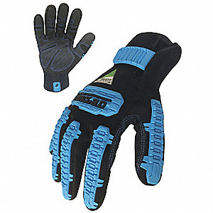 "Cold Protection Gloves, Fleece Lining, 3"", Slip Fit with Hook and Loop Tab Cuff, Black/Blue, 2XL, PR"