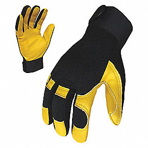 Leather Mechanics Gloves, Goatskin Leather Palm Material, Black/Yellow, 2XL, PR 1