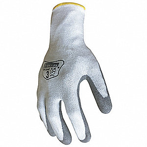 Knit Gloves, HPPE/PU Dipped Palm Material, White/Gray, Glove Size: S