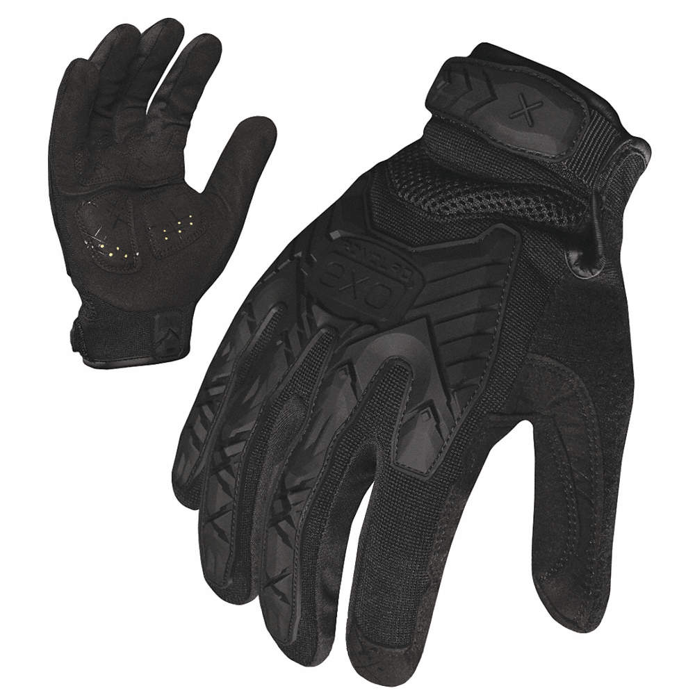 Tactical Glove, Synthetic Leather and Foam Padding Palm Material, S, Black, 1 PR