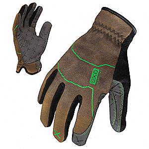 General Utility Mechanics Gloves, Synthetic Leather Palm Material, Brown/Gray, S, PR 1