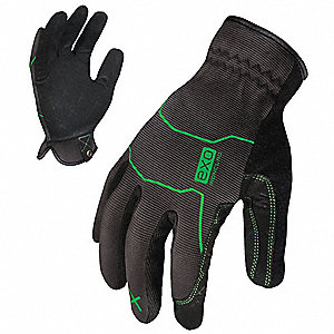 General Utility Mechanics Gloves, Synthetic Leather Palm Material, Gray/Green, 2XL, PR 1