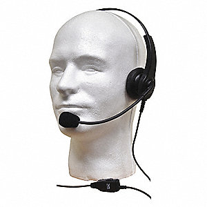 Headset,One Ear,On Ear,Over the Head,Blk