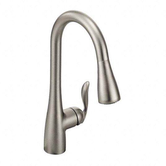 Moen Stainless Steel Gooseneck Kitchen Sink Faucet Manual Faucet Activation 1 5 Gpm 52jm72 7594srs Grainger