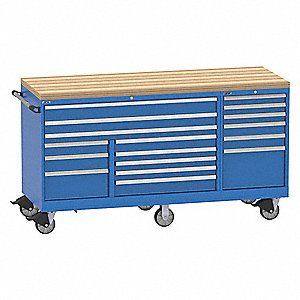 "Mobile Counter Height Modular Drawer Cabinet, 17 Drawers, 82-1/4""W x 28""D x 42""H Bright Blue"