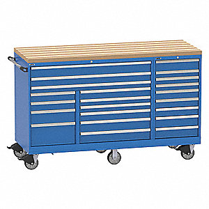 "Mobile Triple Workbench,48"" H,21 Drawers"