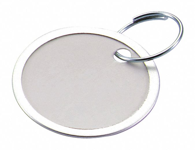 "1 1/4 in"" x 1 1/4 in"" Paper Metal-Rimmed Ring Key Tag, White; PK25"