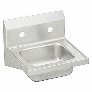 Elkay Stainless Steel Hand Sink Without Faucet Wall Mounting Type