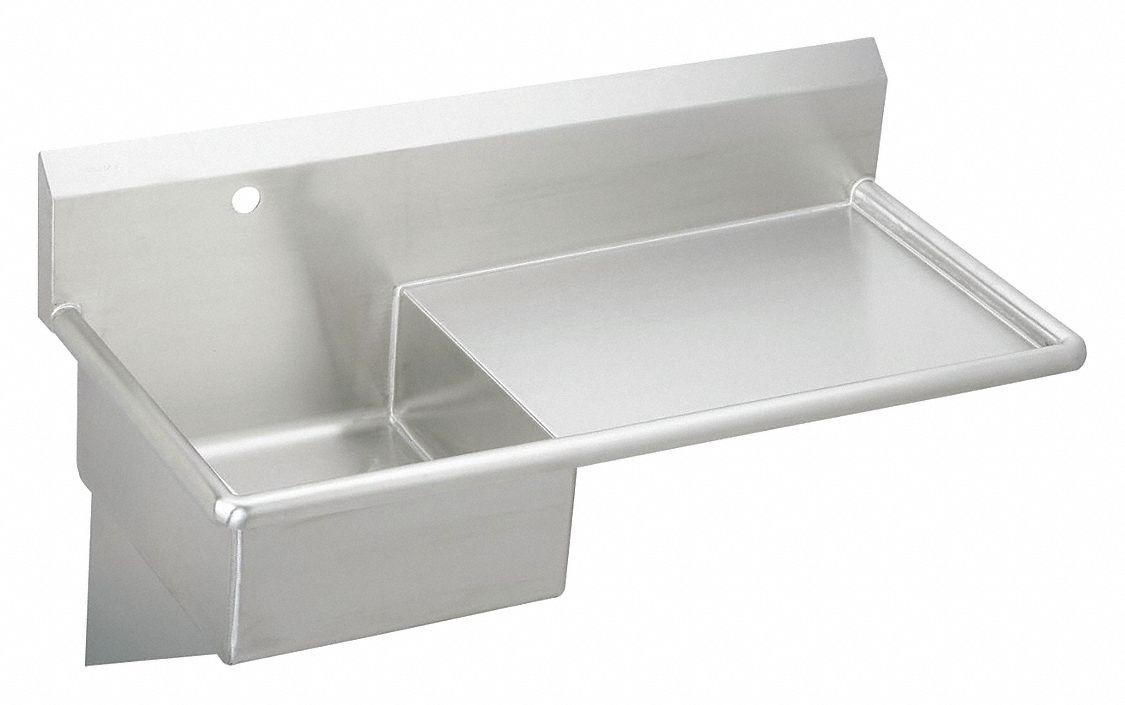 - ELKAY Wall-Mount Utility Sink, 1 Bowl, Stainless Steel, 49-1/2
