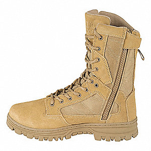Boot,8-1/2R,Coyote,Lace Up and Zipper,PR