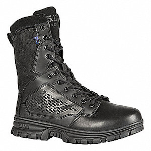 "8"" Work Boot Boots, Toe Type: Plain, Black, Size: 12"
