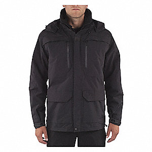 "First Responder Jacket, L Fits Chest Size 44"", Black Color"