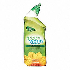 GREEN WORKS Toilet Bowl Cleaner, 24 oz  Bottle, Unscented