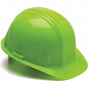 Front Brim Hard Hat, 4 pt. Pinlock Suspension, Hi-Visibility Lime, Hat Size: 6-1/2 to 8