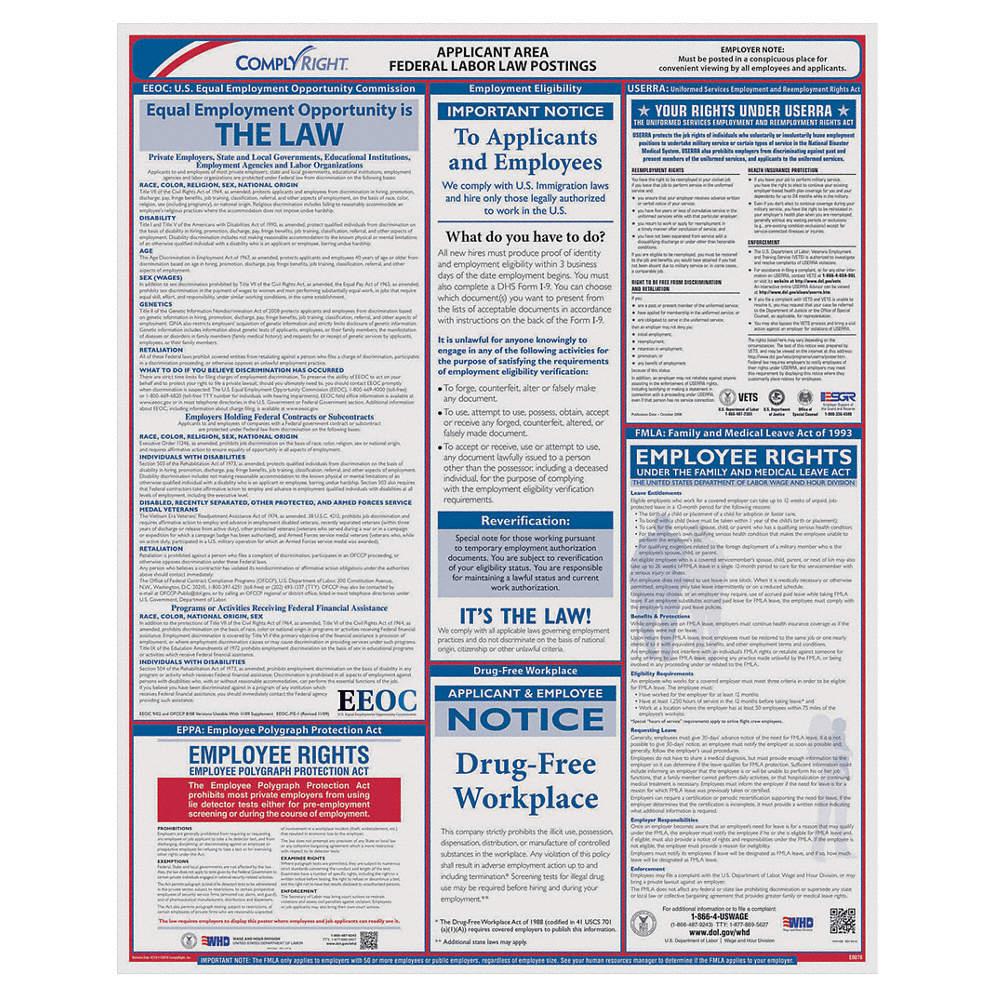Applicant Area Poster, DC Federal Labor Law, English, None