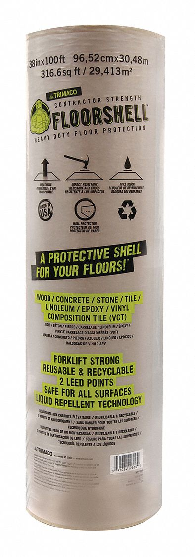 Floor Protection Board, 100 ft Length x 38 inWidth, Non-Adhesive Backing
