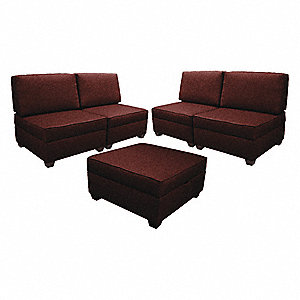 "Sectional Sofas Set,150""W,Red Upholstery"