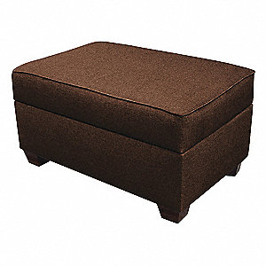 "Storage Ottoman,24"" W,Brown Upholstery"