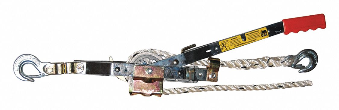 Rope Ratchet Puller,  1,500 lb Pull Capacity,  15 lb Lifting Capacity,  1/2 in Cable or Rope Dia.