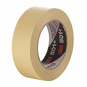 Flatback Paper Masking Tape, Rubber Tape Adhesive, 9.50 mil Thick, 72mm X 55m, Tan, 12 PK
