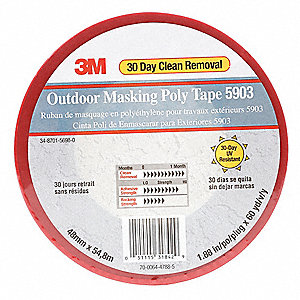 "Polyethylene Masking Tape, Rubber Tape Adhesive, 7.50 mil Thick, 1-7/8"" X 59 yd., Red, 1 EA"