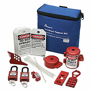 Lockout/Tagout Kit,Blue,Filled,Tool Box