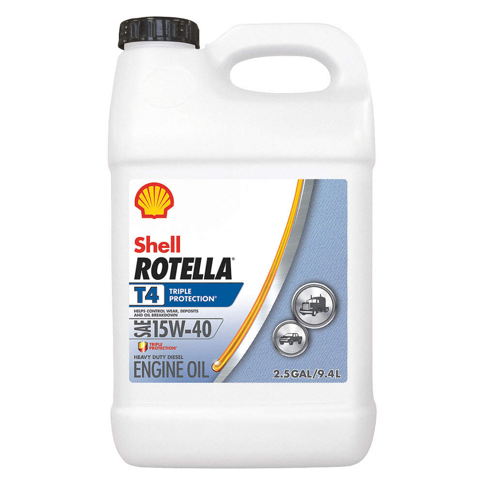 Conventional Engine Oil, 2 5 gal  Bottle, SAE Grade: 15W-40, Amber